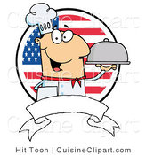 Cuisine Clipart of a Friendly Male Chef Holding a Platter over a Blank Banner and Round American Flag Background by Hit Toon