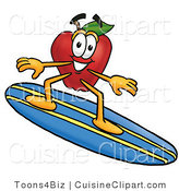 Cuisine Clipart of a Friendly Nutritious Red Apple Character Mascot Surfing on a Blue and Yellow Surfboard by Toons4Biz