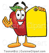 Cuisine Clipart of a Friendly Red Apple Character Mascot Holding a Blank Yellow Price Tag for a Sale by Toons4Biz