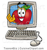 Cuisine Clipart of a Friendly Red Apple Character Mascot on a Desktop Computer Screen by Toons4Biz