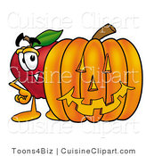 Cuisine Clipart of a Friendly Red Apple Character Mascot Standing with a Carved Jackolantern Halloween Pumpkin by Toons4Biz