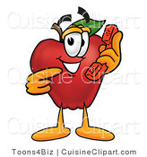 Cuisine Clipart of a Friendly Red Apple Character Mascot Talking on a Telephone by Toons4Biz