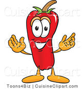 Cuisine Clipart of a Friendly Red Chili Pepper Mascot Cartoon Character with a Smile by Toons4Biz
