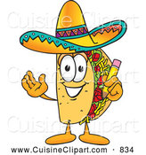 Cuisine Clipart of a Friendly Taco Mascot Cartoon Character Holding a Pencil by Toons4Biz