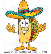 Cuisine Clipart of a Friendly Taco Mascot Cartoon Character with Welcoming Open Arms by Toons4Biz