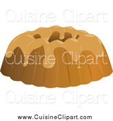 Cuisine Clipart of a Frosted Vanilla Bundt Cake by Randomway