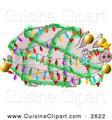 Cuisine Clipart of a Funny Pink Pig Decorated and Wrapped in Christmas Lights and Ornaments - Xmas Ham Concept by Djart