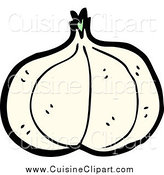 Cuisine Clipart of a Garlic Head by Lineartestpilot