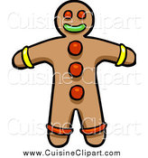 Cuisine Clipart of a Gingerbread Cookie Man by Cartoon Solutions