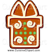 Cuisine Clipart of a Gingerbread Present Christmas Cookie by Vector Tradition SM