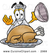 Cuisine Clipart of a Glass Erlenmeyer Conical Laboratory Flask Beaker Mascot Cartoon Character Serving a Thanksgiving Turkey on a Platter by Toons4Biz