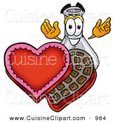 Cuisine Clipart of a Glass Erlenmeyer Conical Laboratory Flask Beaker Mascot Cartoon Character with an Open Box of Valentines Day Chocolate Candies by Toons4Biz