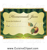 Cuisine Clipart of a Gold and Green Homemade Jam Label with Text and Date Space by Eugene