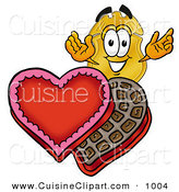 Cuisine Clipart of a Gold Police Badge Mascot Cartoon Character with an Open Box of Valentines Day Chocolate Candies by Toons4Biz