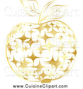 Cuisine Clipart of a Gold Sparkly Apple by Andrei Marincas