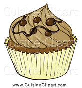 Cuisine Clipart of a Gourmet Cupcake by Graphics RF