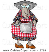 Cuisine Clipart of a Grandma Carrying a Cooking Pot Full of Fresh Red Barriers on White by Djart