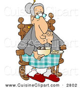 Cuisine Clipart of a Grandma Eating Food While Sitting in Her Rocking Chair by Djart