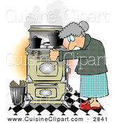 Cuisine Clipart of a Gray Haired Elderly Woman Cooking Food on an Old Household Kitchen Stove by Djart