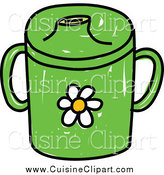 Cuisine Clipart of a Green Baby Beaker Cup with a Daisy by Prawny