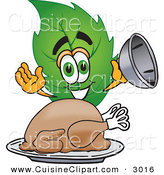 Cuisine Clipart of a Green Leaf Mascot Cartoon Character Serving a Thanksgiving Turkey on a Platter by Toons4Biz
