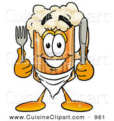Cuisine Clipart of a Grinning Beer Mug Mascot Cartoon Character Holding a Knife and Fork by Toons4Biz