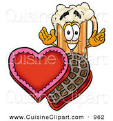 Cuisine Clipart of a Grinning Beer Mug Mascot Cartoon Character with an Open Box of Valentines Day Chocolate Candies by Toons4Biz