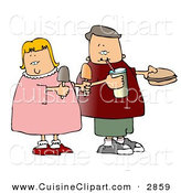 Cuisine Clipart of a Grinning Boy and Girl Eating Food Together by Djart