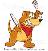 Cuisine Clipart of a Grinning Brown Dog Mascot Cartoon Character Holding a Knife and Fork, Extremely Hungry by Toons4Biz