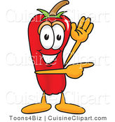 Cuisine Clipart of a Grinning Chili Pepper Mascot Cartoon Character Waving and Pointing by Toons4Biz