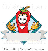Cuisine Clipart of a Grinning Chili Pepper Mascot Cartoon Character with a Blue Diamond and Blank Label by Toons4Biz