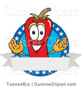 Cuisine Clipart of a Grinning Chili Pepper Mascot Cartoon Character with Stars and a Blank Label by Toons4Biz