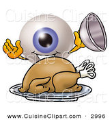 Cuisine Clipart of a Grinning Eyeball Mascot Cartoon Character Serving a Thanksgiving Turkey on a Platter by Toons4Biz
