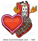 Cuisine Clipart of a Grinning Red Book Mascot Cartoon Character with an Open Box of Valentines Day Chocolate Candies by Toons4Biz