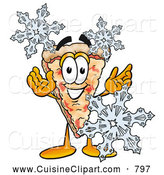 Cuisine Clipart of a Grinning Slice of Pizza Mascot Cartoon Character with Three Snowflakes in Winter by Toons4Biz