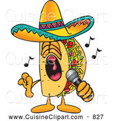 Cuisine Clipart of a Grinning Taco Mascot Cartoon Character Singing Loud into a Microphone by Toons4Biz