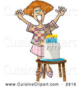 Cuisine Clipart of a Grinning Woman Standing Happily by a Birthday Cake by Djart
