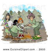 Cuisine Clipart of a Group of Girlscouts Standing Beside a Campfire in the Forest by Djart