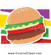 Cuisine Clipart of a Hamburger with a White Outline over Colors by Maria Bell