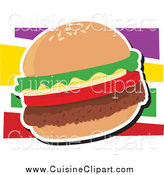 Cuisine Clipart of a Hamburger with Lettuce and Tomato by Maria Bell