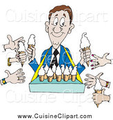 Cuisine Clipart of a Hands Reaching out to an Ice Cream Vendor by Dennis Holmes Designs