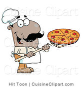 Cuisine Clipart of a Happy African American Pizza Chef Carrying a Pepperoni Pizza Pie on a Stove Shovel by Hit Toon