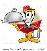 Cuisine Clipart of a Happy and Grinning Fishing Bobber Mascot Cartoon Character Serving a Thanksgiving Turkey on a Platter by Toons4Biz