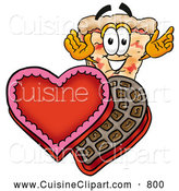 Cuisine Clipart of a Happy and Outgoing Slice of Pizza Mascot Cartoon Character with an Open Box of Valentines Day Chocolate Candies by Toons4Biz
