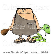Cuisine Clipart of a Happy and Smiling Cavewoman Holding a Dead Snake and a Wooden Club by Djart