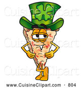 Cuisine Clipart of a Happy and Smiling Slice of Pizza Mascot Cartoon Character Wearing a Saint Patricks Day Hat with a Clover on It by Toons4Biz