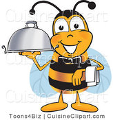 Cuisine Clipart of a Happy Bee Mascot Cartoon Character Dressed As a Servant, Carrying a Food Platter by Toons4Biz