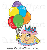 Cuisine Clipart of a Happy Birthday Cake Character with Colorful Party Balloons by Visekart