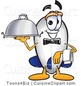 Cuisine Clipart of a Happy Blimp Mascot Cartoon Character Holding a Serving Platter by Toons4Biz