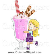 Cuisine Clipart of a Happy Blond White Girl Hugging a Giant Strawberry Milkshake by BNP Design Studio